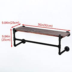 Industrial Pipe Clothing Rack Wall Mounted with Real Wood Shelf,Rustic Retail Garment Rack Display Rack Cloths Rack,Pipe Shelving Floating Shelves Wall Shelf,36in Steam Punk Commercial Clothes Racks #3