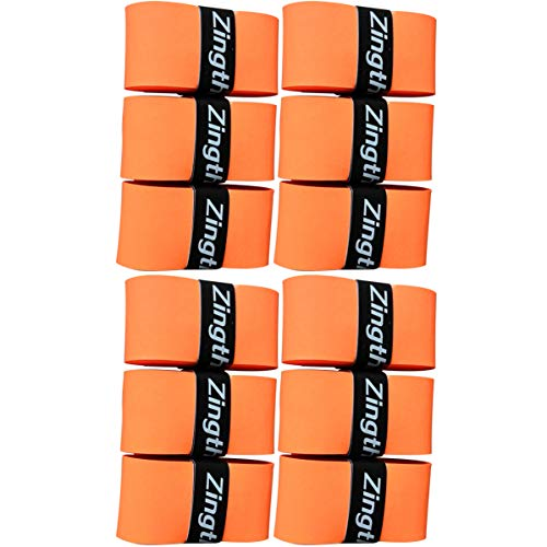 Zingther Premium Super Tacky Overgrip for Tennis Racket, Squash/Badminton Racquet, Racquetball Raquet and Pickleball Paddle Grip Overwrap - Top Grade Tackiness Feel (Orange/Orange, 6 Grips)
