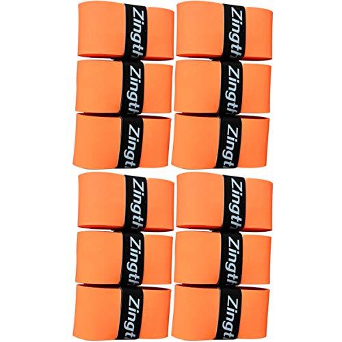 Zingther Profi-Griffe für Tennisschläger / Badmintonschläger / Squash / Racquetball und Pickleball-Schläger, komfortables Griffgefühl, Unisex, super tacky overgrip, Orange, 12-grip-pack