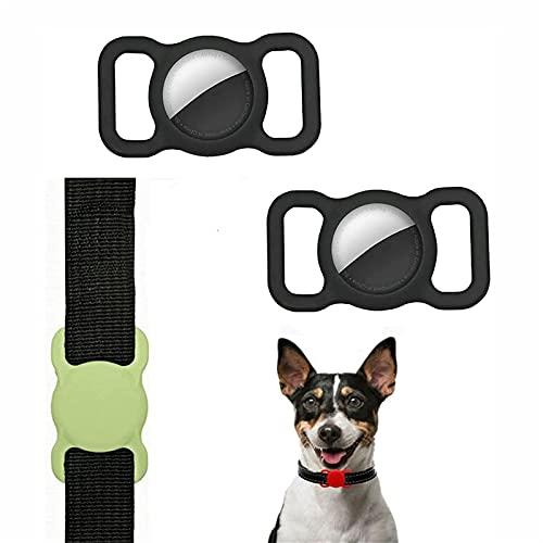 SKYWPOJU 2 paczki silikonowe etui ochronne dla zwierząt, ochraniacz na obrożę dla zwierząt, regulowane śledzenie GPS akcesoria dla psów i kotów Anti-lost Locator AirTags (Color : Black+black)