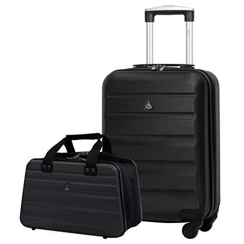 Aerolite Ryanair 55x35x20cm Lightweight ABS Hard Shell Travel Carry On Cabin Hand Luggage Suitcase + 40x20x25cm Hand Cabin Shoulder Bag Black + Black