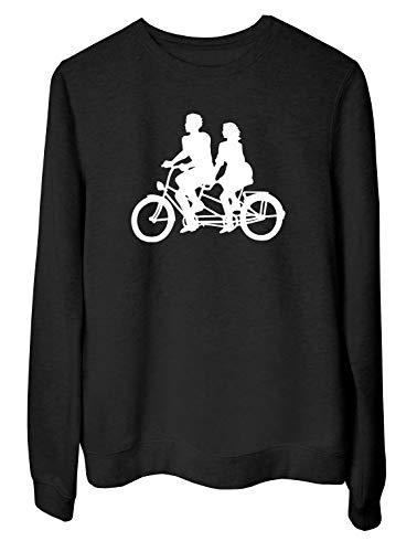 T-Shirtshock Rundhals-Sweatshirt fur Frau Schwarz WES069370 Tandem Bike Bicycle