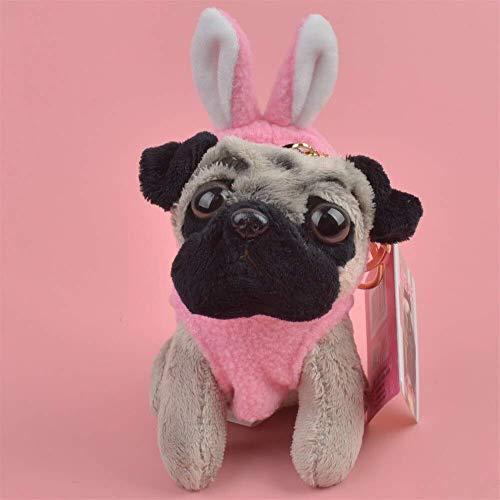 meilishop Kuscheltier Pink Rabbit Cloth Pug Dog Animals Gefüllter Anhänger Schlüsselring Plüschtier, Welpenrucksack Dekoration Schlüsselbund/Schlüsselhalter Geschenk