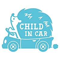 imoninn CHILD in car ステッカー 【パッケージ版】 No.37 ハリネズミさん (水色)