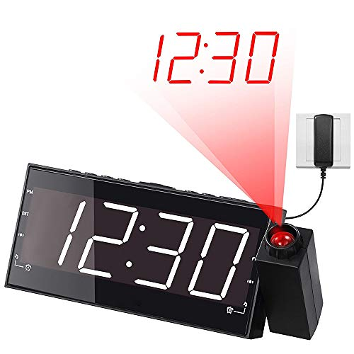 HZYWL Projection Alarm Clock for Bedroom - AM FM Radio & Sleep Timer, 180° Projector, Digital LED Display&Dimmer, USB Charger,Red