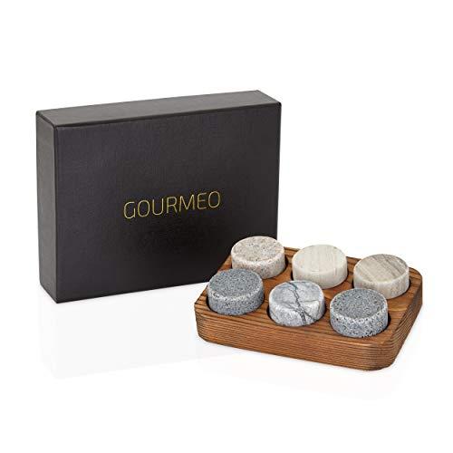 GOURMEO Whisky Steine (6 Stück) aus Marmor und Granit I wiederverwendbare Eiswürfel, Whiskysteine, Whisky Stones, Kühlsteine