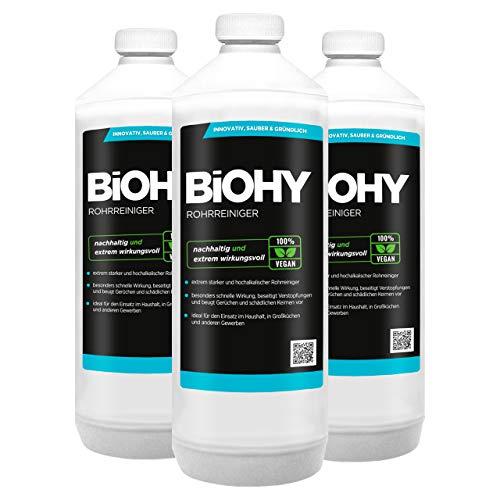 BiOHY Rohrreiniger (3x1l Flasche) | EXTRA STARK | Flüssiger, hochkonzentrierter Abflussreiniger | Geruchsneutral | Für alle Verstopfungen