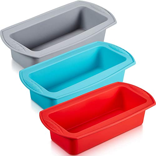 3 Pieces Silicone Loaf Pan Silicone Bread Loaf Cake Mold Nonstick Silicone Loaf Baking Pan for Homemade Cake, Break, Meatloaf, Quiche