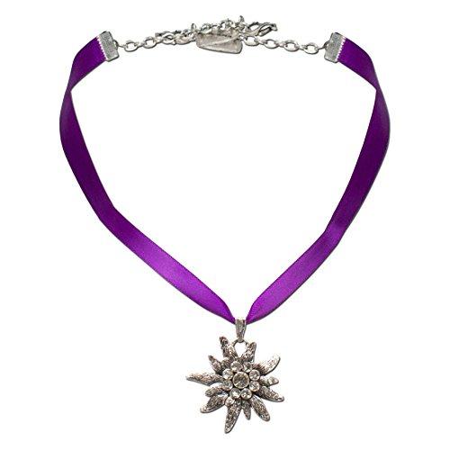 Alpenflüstern Satin-Trachtenkette Strass-Edelweiß - Damen-Trachtenschmuck Dirndlkette lila-violett DHK115