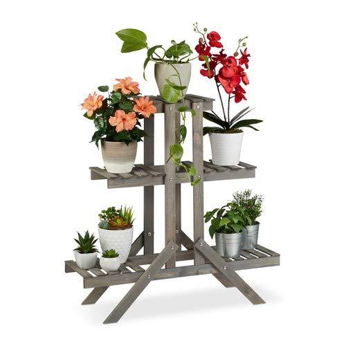 Relaxdays Blumentreppe aus Holz, 3 Stufen mit 9 Ablagen, Shabby Chic, innen, HBT: 83 x 83 x 28 cm, Blumenregal, grau, 83,00 x 83,00 x 28,00cm