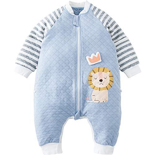 DuoMiaoMiao Ganzjährig Schlafsack mit Füßen, Schlafsack Baby mit abnehmbaren Ärmeln für Sommer & Winter, 100% Baumwolle, Länge 95 cm für 2-3 Jahre, 1.0 TOG Äquivalent, Blauer Löwe