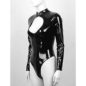 iiniim Womens Sexy Wet Look Lingerie Long Sleeves Zipper Leotard Patent Leather Bodysuit