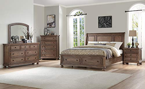 NCF Furniture Fortuna 4 Piece Storage Eastern King Bedroom Set in Rustic Weathered Brown - Bed, Nightstand, Dresser, Mirror