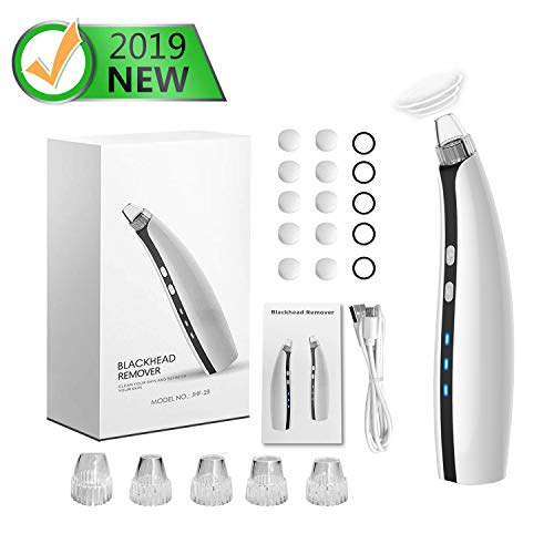 Blackhead Remover, Face Skin Pore Vacuum Cleaner, Electric Acne Comedone Extractor Kit, USB Rechargeable Blackhead Suction Suction Tool with 5 Adjustable Suction, Used to Female and Male