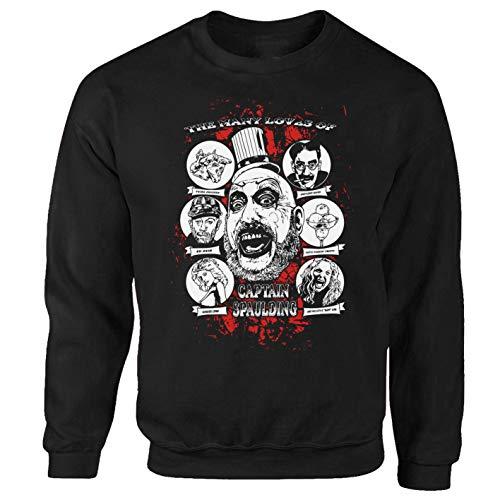 Tex-Ha Sudadera de Halloween con diseño de la casa de los 1000 cadáveres, color negro Negro M