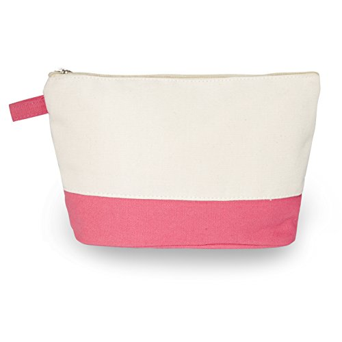 """Cotton Canvas Two-Tone Cosmetic Bag Make Up Clutch Bag (10""""W x 6""""H), Coral Canvas"""