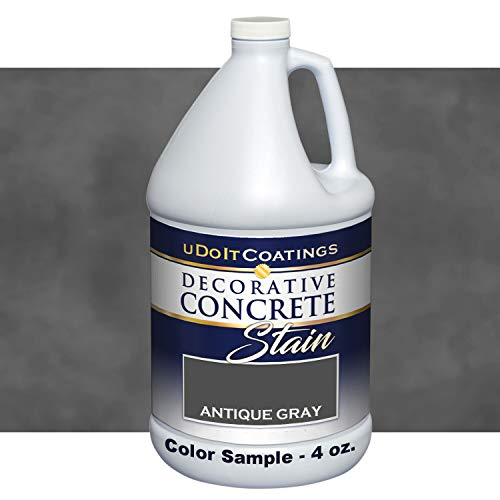 Decorative Concrete Stain. Industrial Quality, Eco-Friendly & Deep Penetrating. 18 Colors. Samples, How-to Videos & Customer Service Available. Indoor/Outdoor use. (4 oz Sample, Antique Gray)
