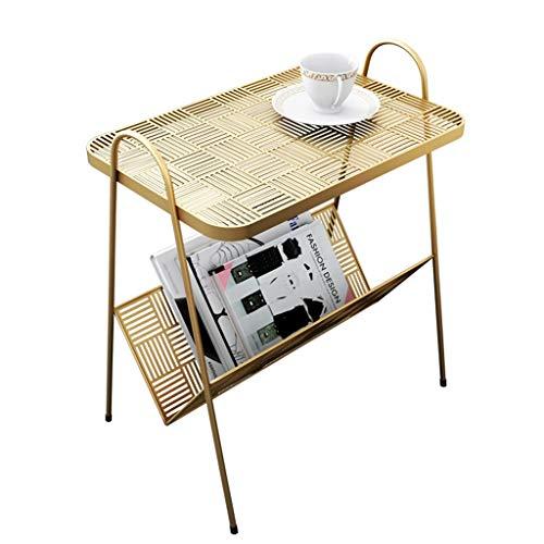 AKaCe-Tables basses Fer forgé Côté Table avec Bookshelves, Espace Double Stockage, Design Creux, Convient for Le Salon Canapé Côté Balcon Chambre, Or/Noir