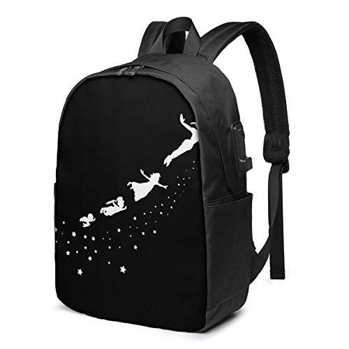 Rononand backpack Zaino Con porta di ricarica USB Zaino per laptop impermeabile casual elegante Borsa da viaggio ultraleggera Hdadwy Peter Pan
