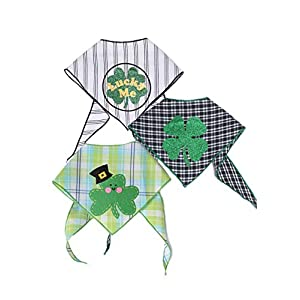 Tail Trends St. Patricks Day Dog Bandanas with Designer Applique for Medium to Large Sized Dogs – 100% Cotton