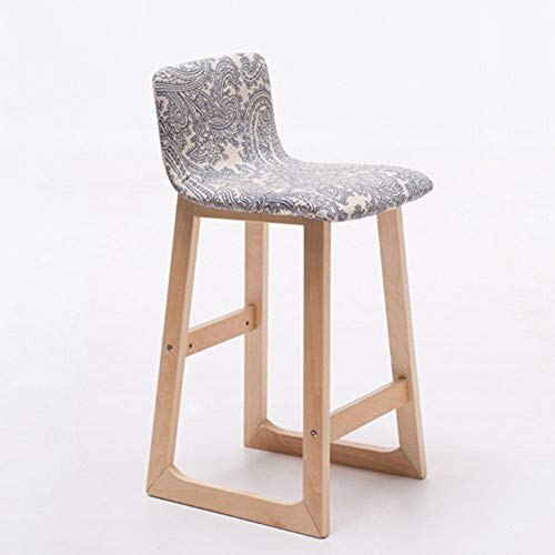 ZZP Modern Furniture Bar Stool with Fabric Seat and Wooden Frame,Comfortable Backrest & Footrest 38.5X33X84/64Cm,1002