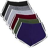 URATOT 6 Piece Cotton Sports Short Yoga Pant Dance Shorts Running Shorts for Women