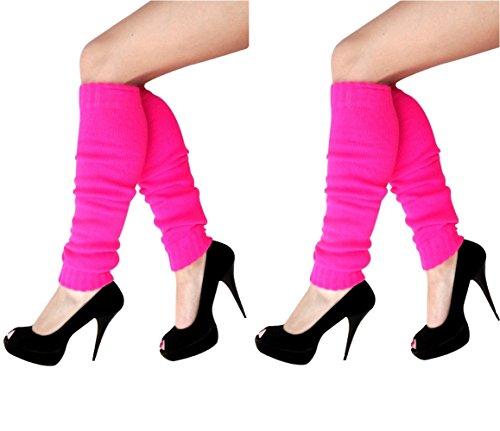 krautwear Damen Mädchen Schweißbänder Stirnband 2 Armbänder Beinstulpen Handschuhe 80er Jahre Set Neon Pink (2X Stulpen Pink)