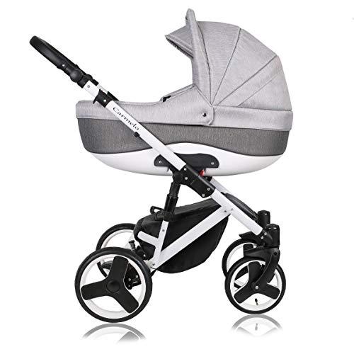 Stroller 3 en 1 juego completo con asiento de coche Isofix baby tub baby carrier Buggy Carmelo White de ChillyKids Autum Sky 108-1 3en1 con asiento