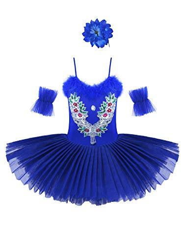 IEFIEL Vestido Maillot de Danza Ballet Cisne Niña Leotardo Gimnasia Clásico Con Tutú Princesa Body Elegante de Baile Disfraz Bailarina Lentejuelas Actuación Azul Oscuro A 7-8 años