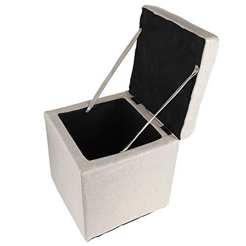 Muebles de almacenamiento Madera + Algodón y Lino 30x30x34.5cm Reposapiés multifuncional Caja de almacenamiento de muebles para el hogar para decoración del hogar