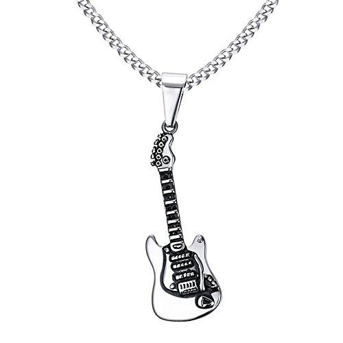 BOBIJOO JEWELRY - Colgante, Collar con Guitarra Eléctrica De Eje De Balancín De Acero Inoxidable Hombre Músico + Cadena