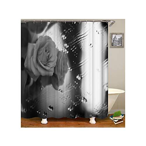 AmDxD Rideau de Douche Retro Fleur Rose Monochrome avec Goutte d'eau Rideau Douche Gris Rideau Baignoire 120x180CM