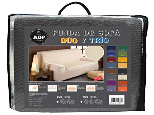 ADP Home - TRÍO de Fundas/Protectores de Sofá de Alta Elasticidad: 2 Fundas de 1 Plaza (de 70 a 110 cm) + 1 Funda de 3 Plazas (de 180 a 240 cm), Gris
