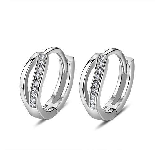 NOBRAND Pendientes de aro de Cristal geométrico Pendiente de Plata de Ley 925 para Mujer Joyería de Moda