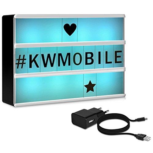 kwmobile caja de luz LED A6 de color cambiante - 7 colores 126 letras negras - fuente de alimentación USB