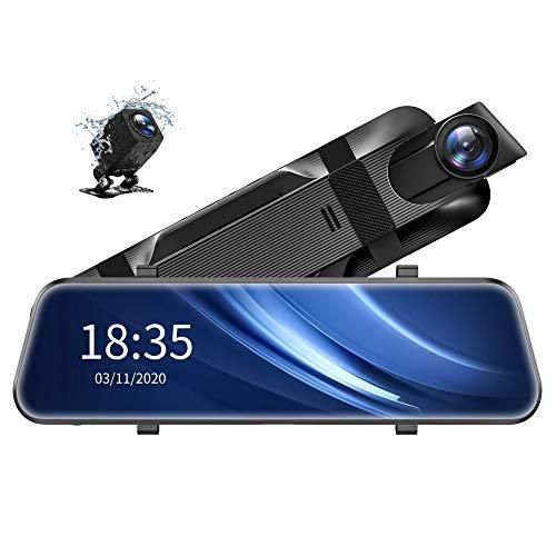 "ViviLink VX510 2.5K Mirror Dash Cam Voice Control, Dual Dash Cam with 10"" Touch Screen, Rear View Mirror Camera, Waterproof Backup Camera, Parking Assist, Smart Parking Mode, Loop Recording, G-Sensor"