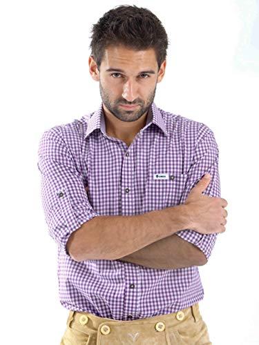 ALMBOCK Trachtenhemd Herren kariert - Slim-fit Männer Hemd flieder violett lila kariert - Karo Hemd aus 100{2b1dc8f558023d4d2618c94e0e0e626a92f5859077923ab3f79eb3ad71ddfc68} Baumwolle in den Größen S-XXXL