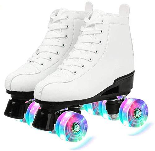 Xbshmw Rollschuhe PU Leder, glänzende Allrad Rollschuhe, Unisex für Erwachsene Kinder mit Tasche,White Flash Wheel,44