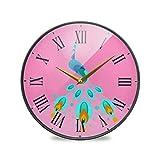 ピンクグリーンピーコックファイアラウンドウォールクロック円形プレートサイレント非カチカチ時計キッチンホームオフィスインテリア男の子女の子
