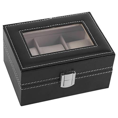 HERCHR Cajas para Relojes, Organizador de Caja para Relojes y joyeros con 3 Compartimentos 16 x 11 x 8 cm