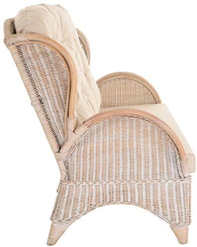 korb.outlet Rattan-Sofa 3-Sitzer Korbsofa inkl. Polster, Sofa nach Art wie Ohrensessel Hochlehn-Sofa Wintergarten Couch Rattanmöbel (Vintage Weiss) - 4