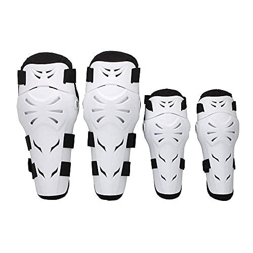 Rodilleras Moto Coderas para Hombre - 4 Piezas Motocross Rodilleras de protección Coderas Motocicleta Equipo de Protecciones para Moto K.T.M BMW, Enduro, Carreras, Ciclismo(Blanco)