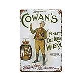 GDRAY Cartel de metal de estilo retro de Cowan's con whisky irlandés vintage, de 20 x 30 cm