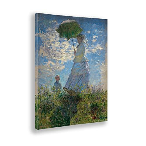 Giallobus - Quadro - Claude Monet - Donna con Ombrello - Stampa su Tela Canvas - Pronto da Appendere - Vari Formati - 70x100 cm