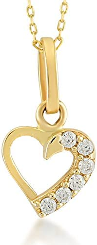 Gelin 14k Yellow Gold Simple Forever Love Heart Pendant Necklace for Women with Cubic Zirconia product image