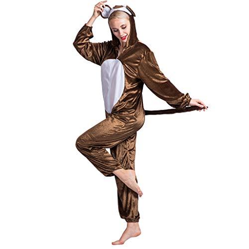 EraSpooky Costumi Costume da Scimmia Animale Unisex Halloween Party Divertente Outfit per Adulti Uomini Donne