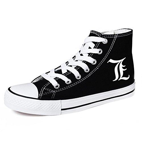 Telacos Death Note L Cosplay Zapatos Zapatillas Zapatos de Lona Negro, Negro