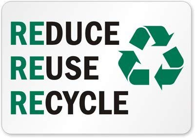 Reuse Reduce Recycle Schild (mit Grafik), Aluminium (recycelt), 35,6 x 25,4 cm