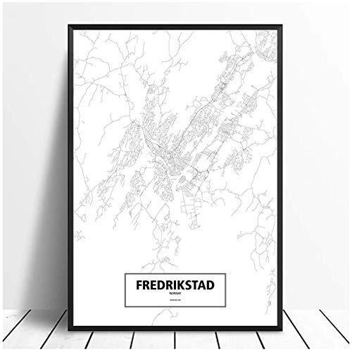 Fredrikstad, Noruega, negro, blanco, mundo, mapa de la ciudad, póster, lienzo impreso, arte de pared, impresiones en la pared, decoración del hogar, 50x70cm sin marco
