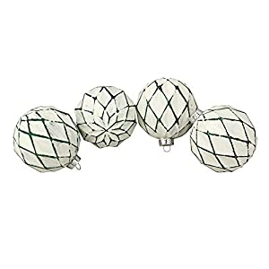 4 Count Green And White Antique Style Christmas Ornaments Ball ornaments feature a unique diamond pattern Ornaments come ready to hang with silver ornament caps Ball ornament measures 4 inches in diameter